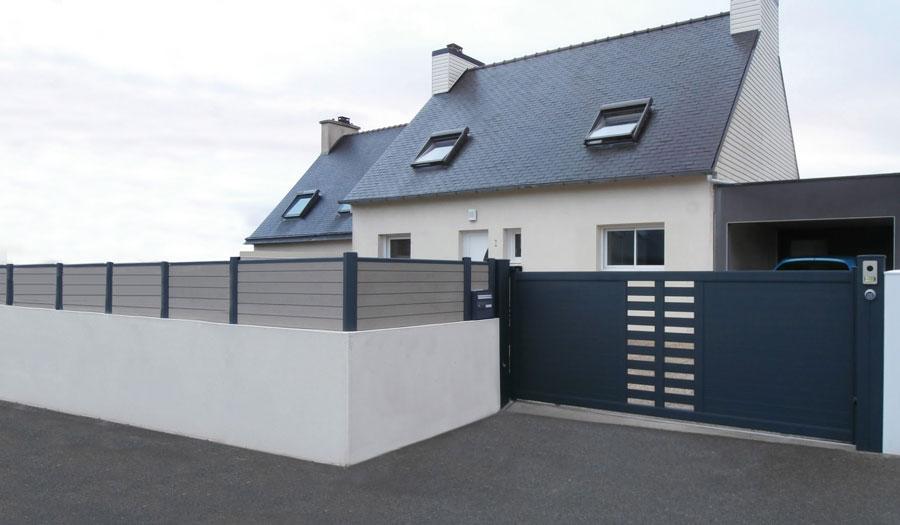 Pose portails tours 37 projet h - Portail garage avec porte integree ...